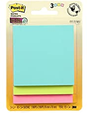 """Post-it Notes Super Sticky Notes, 3"""" x 3"""", 3 Pads, 45 Sheets/Pad, Miami Colours"""
