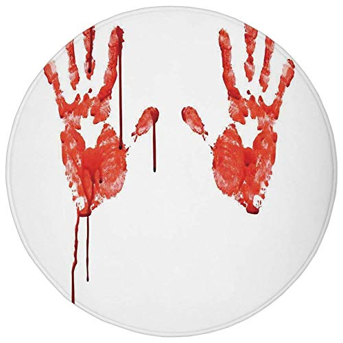 K0k2t0 Round Rug Mat Carpet,Horror,Handprint Like Wanting Help Halloween Horror Scary Spooky Flowing Blood Themed Print,Red White,Flannel Microfiber Non-Slip Soft Absorbent,for Kitchen Floor -