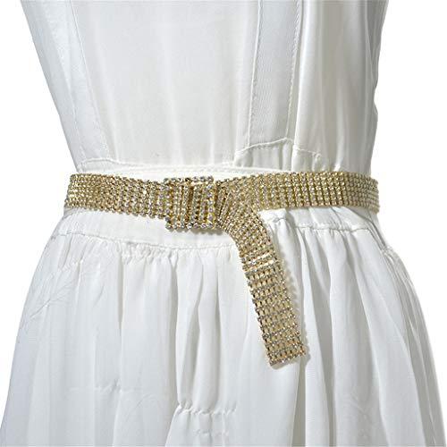 Toimothcn Women Luxury Sparkle Faux Rhinestone Waist Belt Party Club Crystal Waistband Waist Chain(Gold,One)