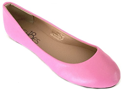 Shoes 18 Womens Ballerina Ballet Flat Shoes Solids & Leopards (10, Pink PU 8600) - Pink Ballet Flats