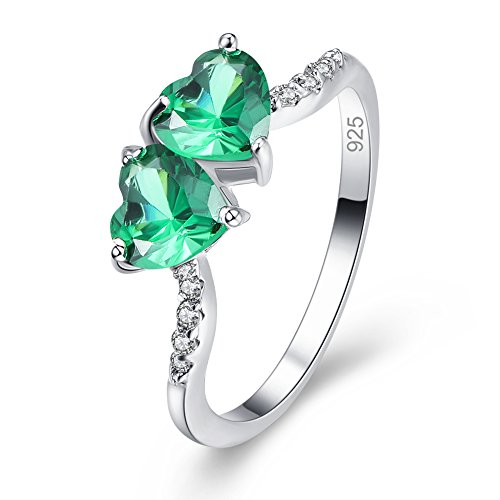 (Emsione Created Emerald Quartz 925 Sterling Silver Plated Heart Plated Ring for Women)