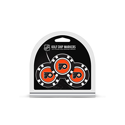 Team Golf NHL Philadelphia Flyers Golf Chip Ball Markers (3 Count), Poker Chip Size with Pop Out Smaller Double-Sided Enamel ()