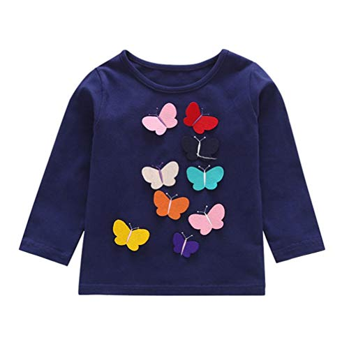 Toddler Baby Girls Clothes Sets for 6 Months-4T,Lovely Long Sleeve Cartoon Animal Butterfly Applique Tops T-Shirt Outfits (18-24Months, Navy) -