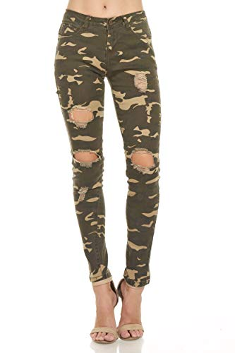 Monkey Ride Jeans Women's Mid Rise Skinny Jeans Slim Fit Stretchy Denim Distressde Details 3, Olive/CAMO ()