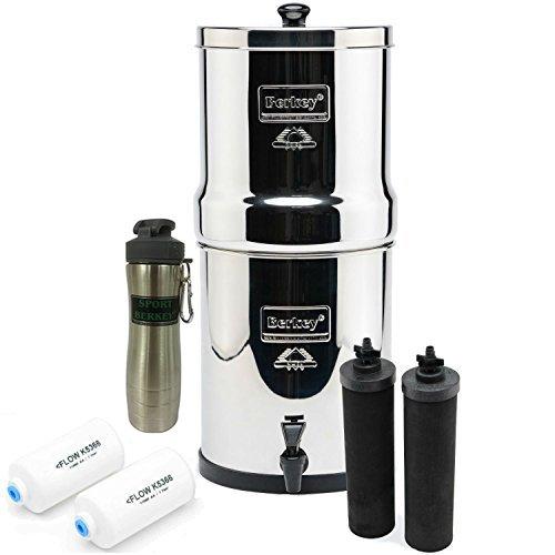 Big Berkey BK4X2 Countertop Water Filter- 2 Black Berkey Elements and 2 PF-2Fluoride Filters bundled w/ Silver Berkey Waterbottle