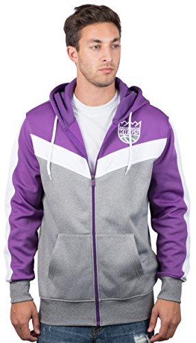 UNK NBA NBA Men's Sacramento Kings Full Zip Hoodie Sweatshirt Jacket Contrast Back Cut, X-Large, Purple (Kings Basketball Nba Sacramento)