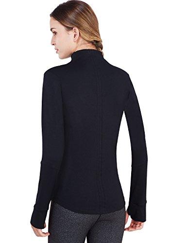 Matymats Women's Active Full-Zip Track Jacket Yoga Running Athletic Coat With Thumb Holes,Large,Black by Matymats (Image #4)