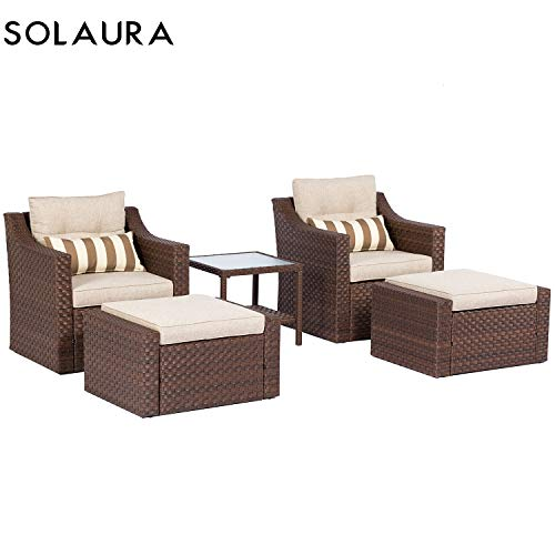 SOLAURA 5-Piece Sofa Outdoor Furniture Set, Wicker Lounge Chair Ottoman with Neutral Beige Cushions Glass Coffee Side Table – Brown
