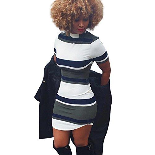 Dress Pikolai 2017 Summer Vintage Stripe Bodycon Slim Cocktail Tight Mini Dress (XL/US 10, Navy)
