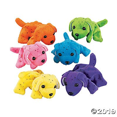 Plush Neon Dogs (1 dozen) - Bulk, Assorted Colors: Toys & Games