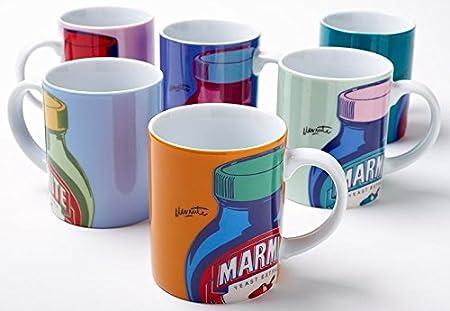 Marmite 250 ml Porcelain Pop Art Mugs, Set of 6: Amazon.co.uk ...