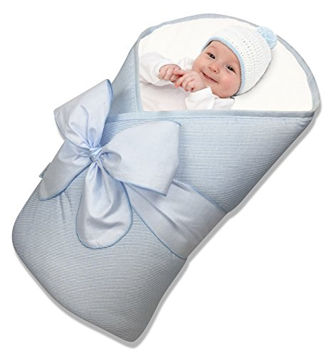 New Handmade Baby Receiving Blanket - BundleBee Baby Wrap/Swaddle/Blanket, Feather Light/Blue, 0-4 Months