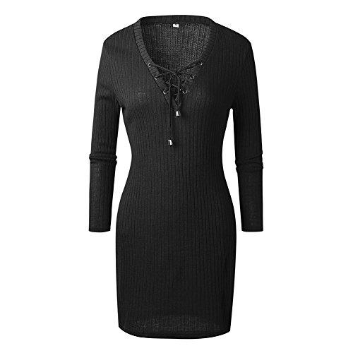 Damen Sexy V-Ausschnitt Langarm Kleider Damen Strick Bodycon Jumper Kleid  Winter Minikleid Party Kurze 977e347e54