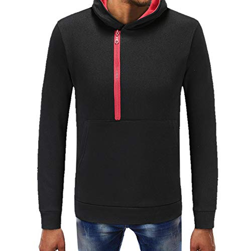 WOCACHI Mens Hoodies Contrast Color Zipper Hooded Outerwear Pullover Sweatshirt Clearance Sale Promotion Deal Autumn Winter Warm Tops Blouses Shirts