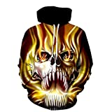 DONTAL Men's Gold Liquid Skull New 3D Printed Sanitary Clothes Hooded Long Sleeved Top Blouse Black