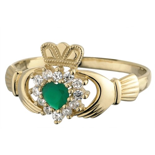 Claddagh Ring 10K Gold CZ & Green Agate Sz 6.5