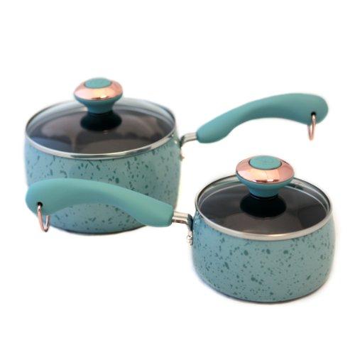 Paula Deen Signature Porcelain 'Robin's Egg Blue' 2-piece Saucepan Set