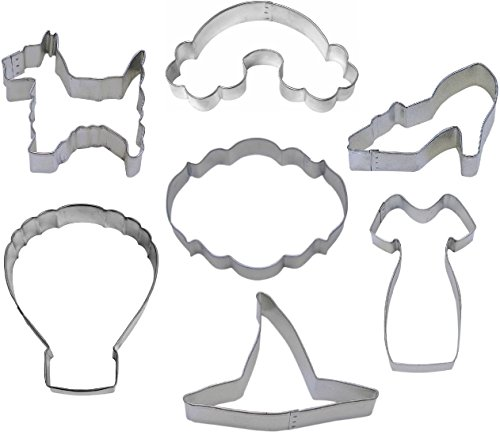 Wizard of Oz Cookie Cutter Set - 7 Piece - Ruby Slipper, Dorothy's Dress, Witch Hat, Hot Air Balloon, Rainbow, Dog - Stainless Steel -
