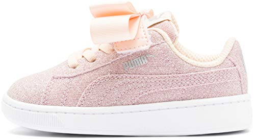 PUMA Girls' Vikky V2 Ribbon Slip ON Sneaker Peach Parfait Silver White, 10 M US Toddler
