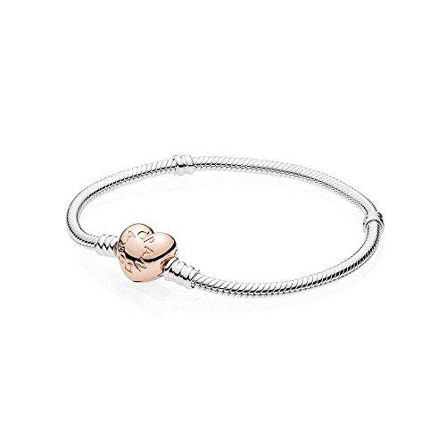 Sterling Silver Rose Bracelet - PANDORA Sterling Silver w Rose Heart Clasp, 16 cm / 6.3 in