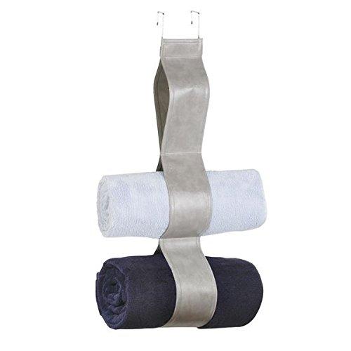 mDesign Vegan Leather Bathroom Towel Holder Over-the-Door, Grey B01N78N1YF3 Loop OTD Towel Holder