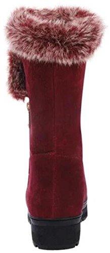Mid Suede Lining Cozy DADAWEN Snow Boots Fur Warm Womens Calf Winter Red AfnnHW0q