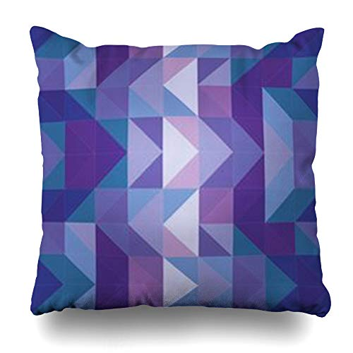 InterestDecor Throw Pillow Covers Pillowcase Modern Blue Pattern Violet Navy Dark Geometric Mosaic Shapes Hipster Triangle Flat Aztec Creative Zippered Square Size 20 x 20 Inches Cushion - Hipster Violet