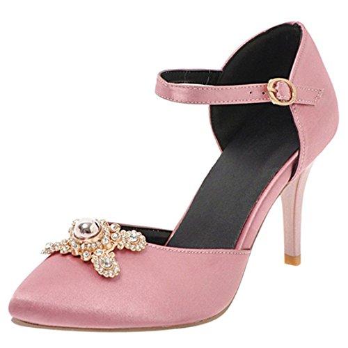 Gioiello Alto Donna Tacco con Punta Spillo Scarpe YE a Fibbia Rosa Chiusa Fiore 1OqvCw