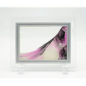 Queenie® Flowing Sand Landscape, Sand in Motion Abstract Scenery with ABS Stent and Glass Frame Desktop Art Moving Pink Sand Painting, 5 inch