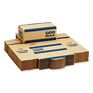 MMF Industries Pack 'n Ship Coin Transport Boxes for Nickels, 100 Dollar Capacity, 50 Boxes per Carton, Blue (240140508)