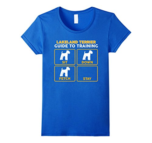 Womens Lakeland Terrier T-Shirt | Funny Guide To Training Large Royal Blue