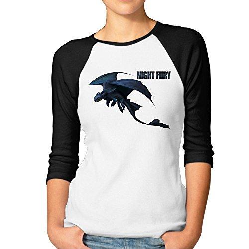 Avis N Train Your Dragon Women's 3/4 Sleeve Raglan Baseball T Shirts Black Small