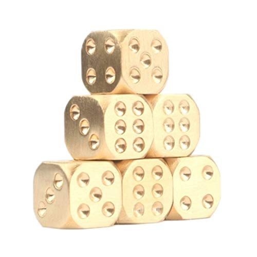 Blue-Ocean-11 - Golden Color Manual Polishing Solid Brass Dice Club Bar Supplies Copper Alloy Drinking Dice Entertainment ()