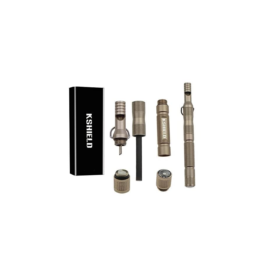 Survival Magnesium Flint Stone Fire Starter Lighter Kit EDC Survival Gear Tactical Military Grade Fire Starters Rod, Striker, Scraper, Compass with Tinder In Waterproof Compartment