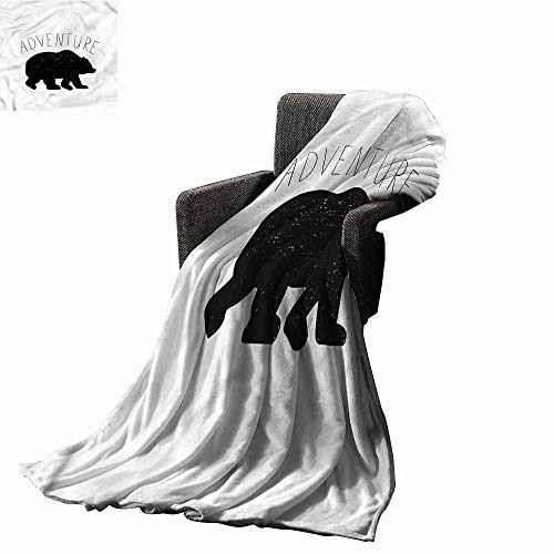 Fleece Bear Adventure - RenteriaDecor Fleece Blanket Adventure,Wild Bear Nature Love for Couch Bed Living Room W60 x L50 inch