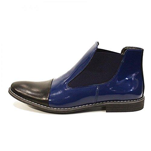 PeppeShoes Modello Zaffiro - Handgemachtes Italienisch Leder Herren Navy Blau Stiefeletten Chelsea Stiefel - Rindsleder Lackleder - Schlüpfen