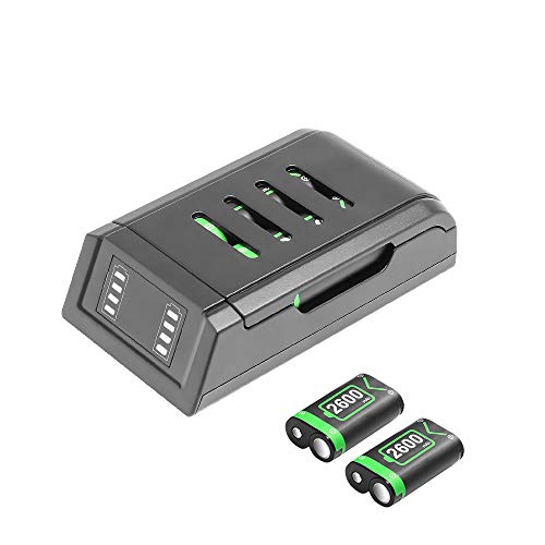 EJGAME Controller Charger Station and Battery Pack for Xbox One/One X/One S/One Elite, High Speed Docking Charging Station with 2 x 2600mAh Rechargeable Battery Packs