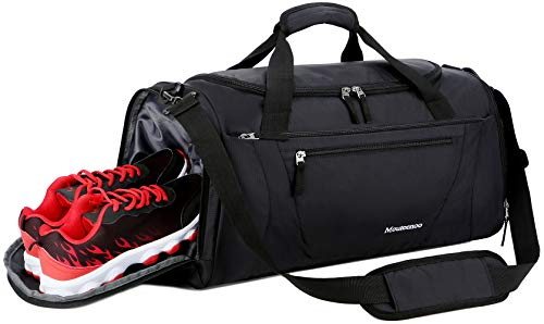 - Mouteenoo Gym Bag 40L Sports Travel Duffel Bag for Men and Women with Shoes Compartment (One_Size, Black)
