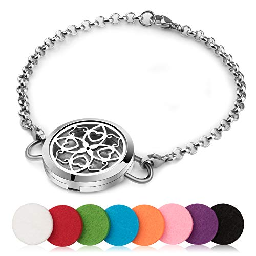Birthday Gifts for Women, Aromatherapy Essential Oil Diffuser Bracelet, Stainless Steel Adjustable Diffuser Locket Bracelets for Women with 8 Colors Pads - Perfect for Jewelry Gift Set for Women Kids