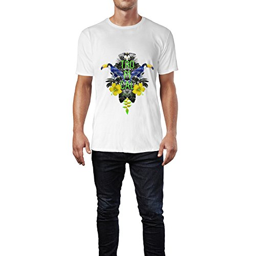 SINUS ART® Geometrische Paradiesvögel in den Tropen Herren T-Shirts in Weiss Fun Shirt mit tollen Aufdruck