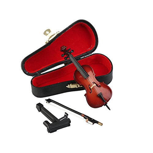 Seawoo Wooden Miniature Cello with Stand,Bow and Case Mini Musical Instrument Miniature Dollhouse Model Home Decoration (3.94
