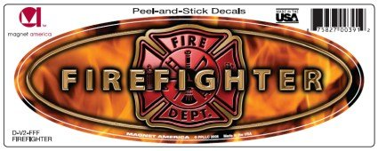 Firefighter Slim Design Oval DECAL (non-magnetic!)
