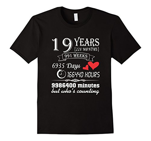 Mens Anniversary Gift 19th T-Shirt 19 Years Wedding Marriage Gift XL Black
