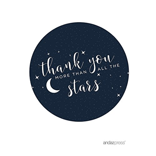 Andaz Press Love You to the Moon and Back Wedding Collection, Round Circle Label Stickers, Thank You More Than All The Stars, 40-Pack, Space Galaxy Themed Baby Shower -