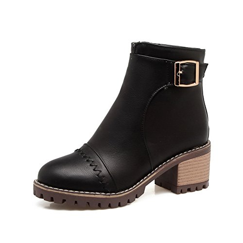 Toe Smooth Urethane Waterproof Firm Warm MNS02517 Boots Ground Bootie Heeled Boots Closed Zip Outdoor 1TO9 Lining Black Leather Womens zfwZtt