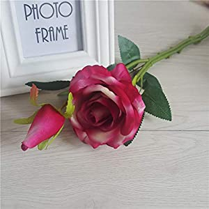 8Pcs Artificial Silk Rose Flower Real Touch Floral Decorations DIY for Home Office Wedding Bouquet Birthday Hotel Garden Party 5
