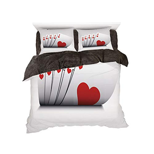 All Season Flannel Bedding Duvet Covers Sets for Girl Boy Kids 4-Piece Full for bed width 4ft Pattern by,Poker Tournament Decorations,Royal Flush Playing Cards Hearts Betting Bluff Gambling Decorative - Gothic Flush