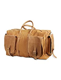 Leather Tan Duffle Bag Weekender travel top grain leather bag Duffel bag by Chra