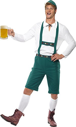 Smiffy's Men's Oktoberfest Costume, Lederhosen Shorts with suspenders, Top and Hat, Around the World, Serious Fun, Size L, 39497 - Oktoberfest Costumes Mens