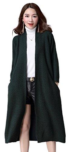 KUBITU Womens Shawl Collar Pocket Open Front Wool Long Cardigan Sweater Coat Large Dark Green